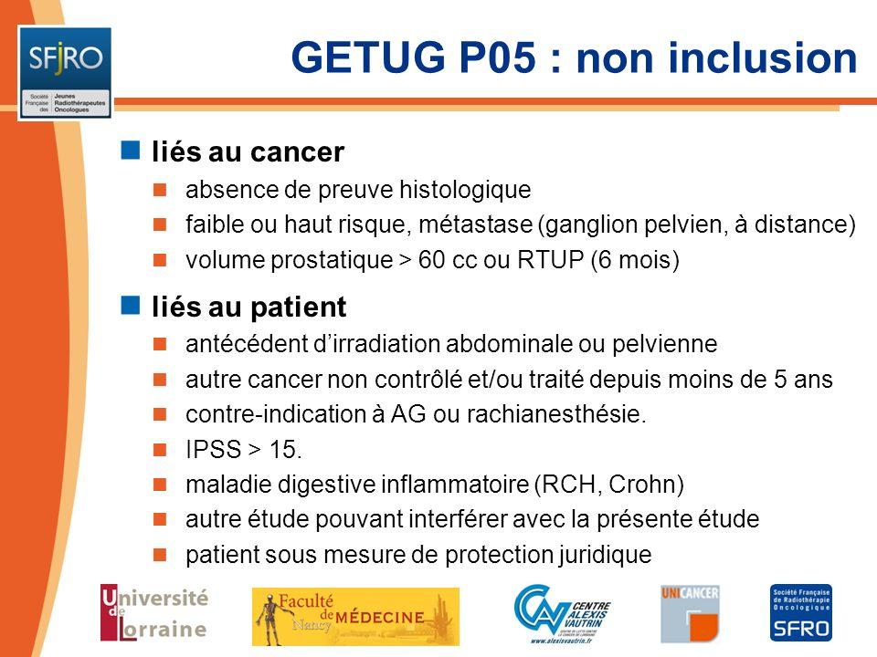 GETUG P05 : non inclusion liés au cancer absence de preuve histologique faible ou haut risque, métastase (ganglion pelvien, à distance) volume prostat