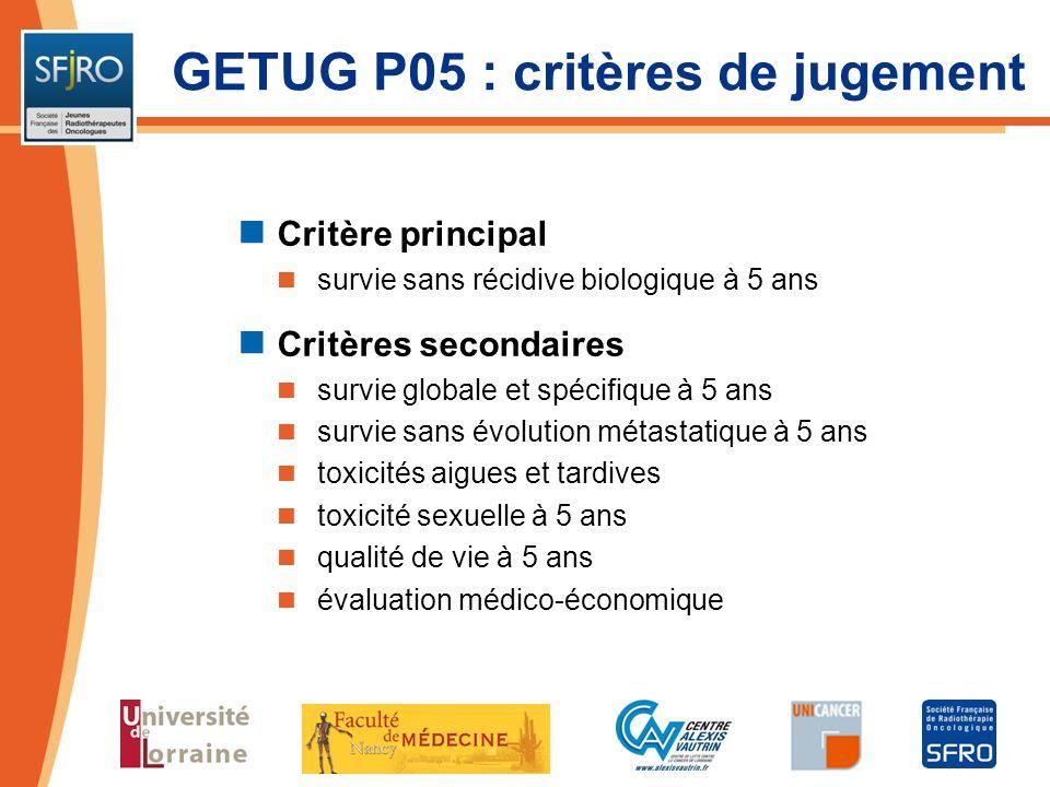 GETUG P05 : critères de jugement Critère principal survie sans récidive biologique à 5 ans Critères secondaires survie globale et spécifique à 5 ans s