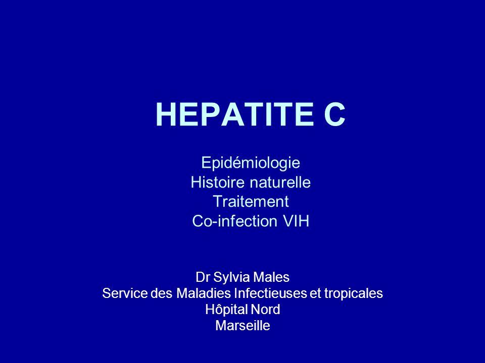Généralités Modes de transmission communs Prévalence de la co-infection élevée En Europe: 40% des VIH + sont co- infectés par le VHC Si Ac VHC- : pas dhépatite C, sauf : –Hépatite C aigüe –Déficit immunitaire -> faire PCR