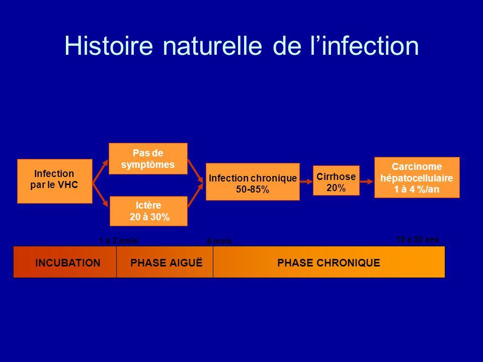 Histoire naturelle de linfection 6 mois 1 à 2 mois 10 à 30 ans INCUBATIONPHASE AIGUËPHASE CHRONIQUE Infection chronique 50-85% Cirrhose 20% Carcinome