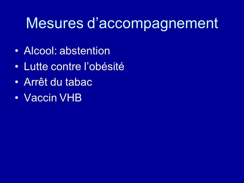 Mesures daccompagnement Alcool: abstention Lutte contre lobésité Arrêt du tabac Vaccin VHB
