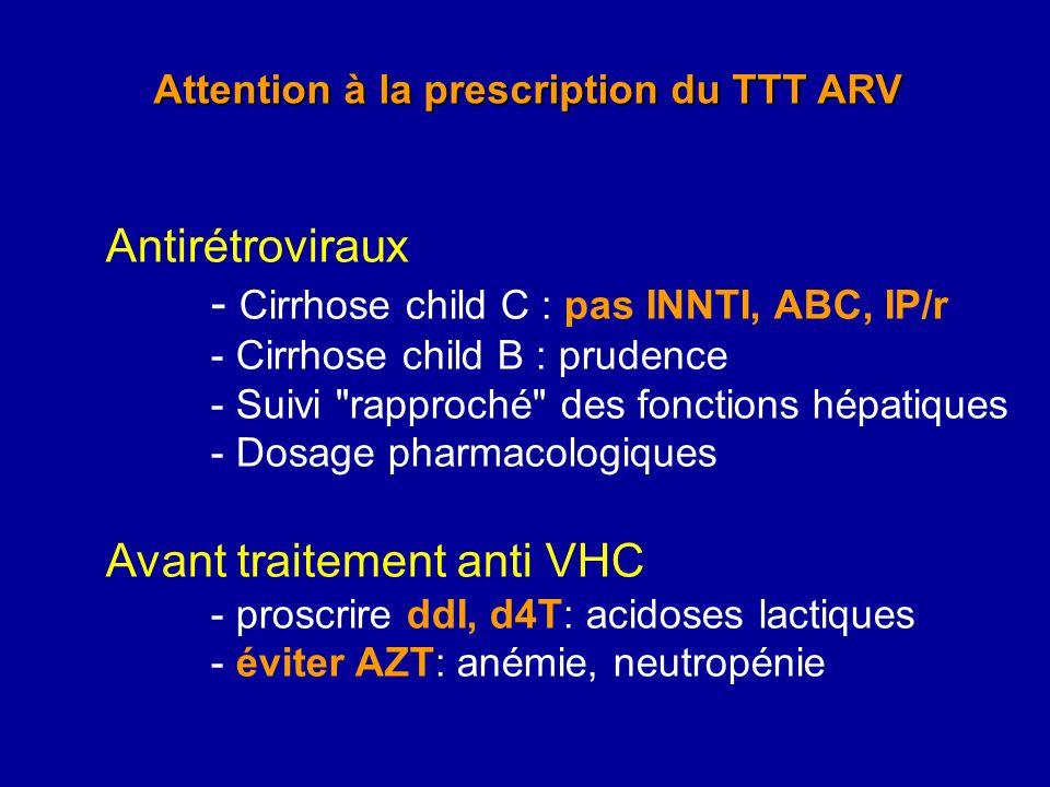 Attention à la prescription du TTT ARV Antirétroviraux - Cirrhose child C : pas INNTI, ABC, IP/r - Cirrhose child B : prudence - Suivi