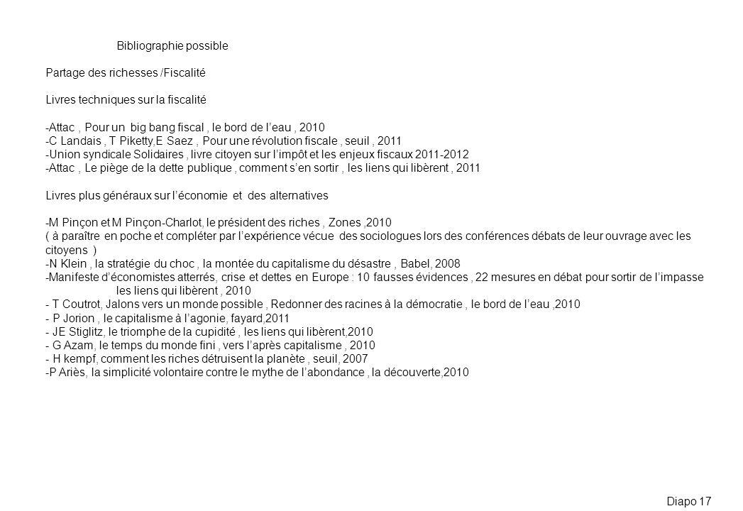 Bibliographie possible Partage des richesses /Fiscalité Livres techniques sur la fiscalité -Attac, Pour un big bang fiscal, le bord de leau, 2010 -C L