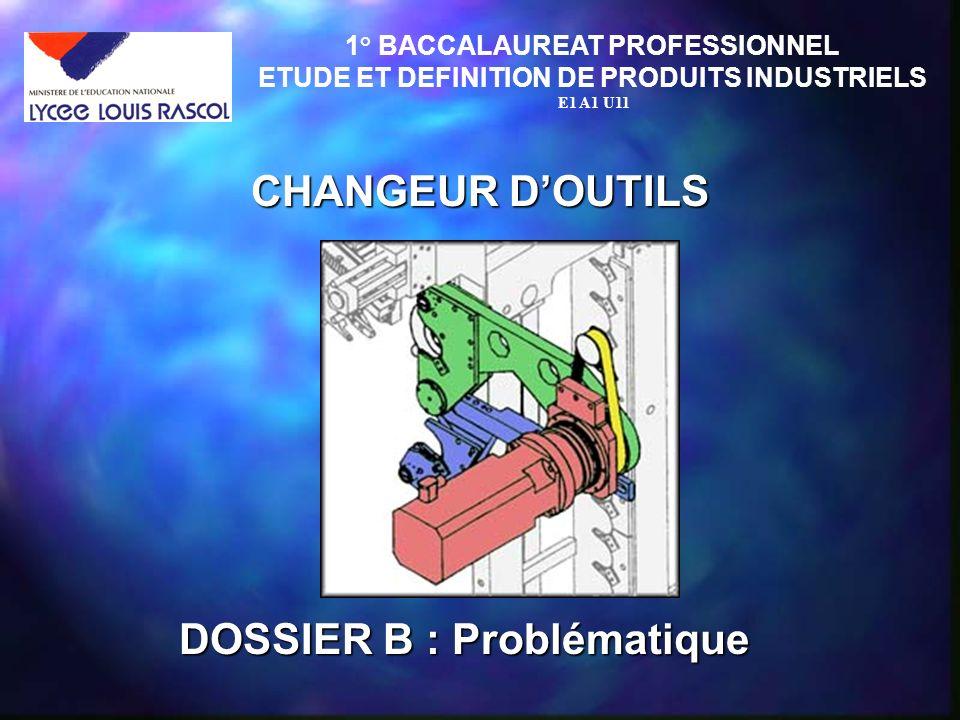 CHANGEUR DOUTILS 1° BACCALAUREAT PROFESSIONNEL ETUDE ET DEFINITION DE PRODUITS INDUSTRIELS E1 A1 U11 DOSSIER B : Problématique