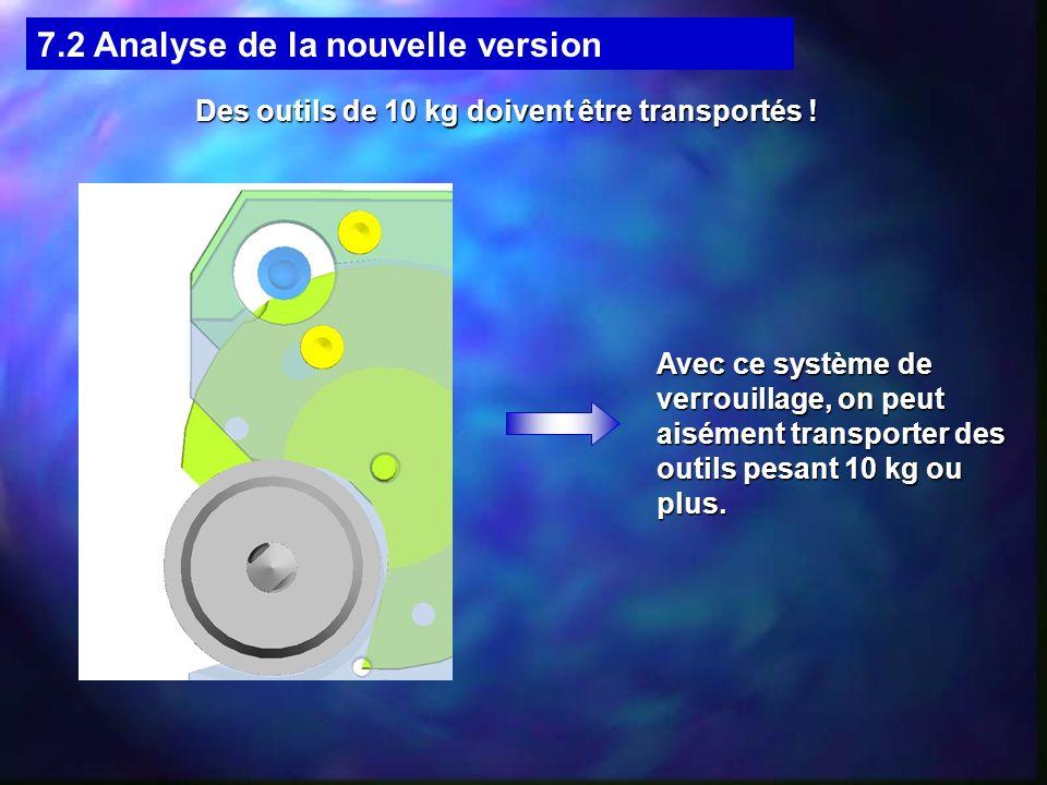 7.2 Analyse de la nouvelle version Des outils de 10 kg doivent être transportés ! Avec ce système de verrouillage, on peut aisément transporter des ou