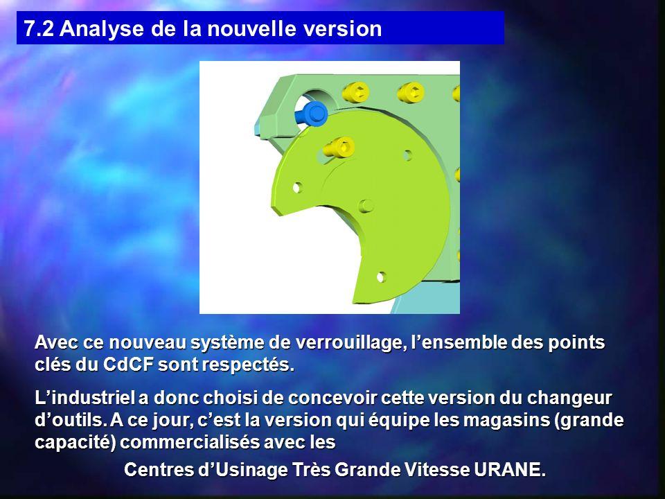 7.2 Analyse de la nouvelle version Avec ce nouveau système de verrouillage, lensemble des points clés du CdCF sont respectés.