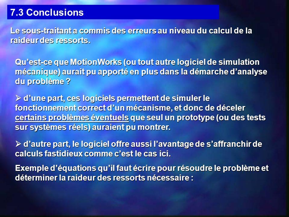 7.3 Conclusions Le sous-traitant a commis des erreurs au niveau du calcul de la raideur des ressorts. Quest-ce que MotionWorks (ou tout autre logiciel