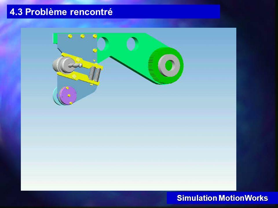 4.3 Problème rencontré Problème rencontré : chute des outils Voir Simulation MotionWorks