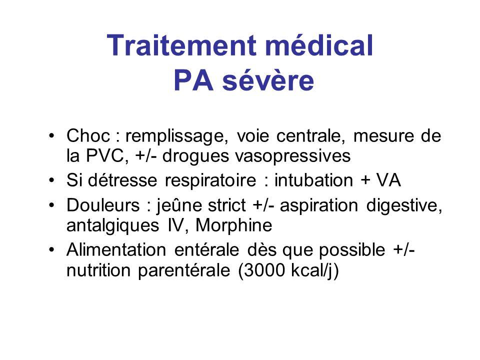 Traitement médical PA sévère Choc : remplissage, voie centrale, mesure de la PVC, +/- drogues vasopressives Si détresse respiratoire : intubation + VA