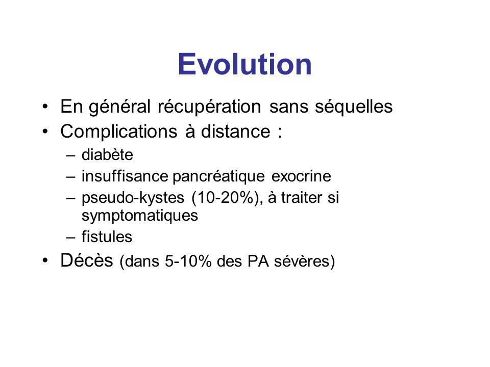 Evolution En général récupération sans séquelles Complications à distance : –diabète –insuffisance pancréatique exocrine –pseudo-kystes (10-20%), à tr