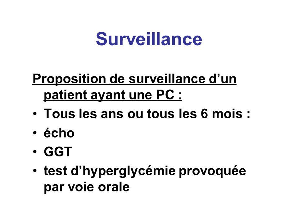 Surveillance Proposition de surveillance dun patient ayant une PC : Tous les ans ou tous les 6 mois : écho GGT test dhyperglycémie provoquée par voie