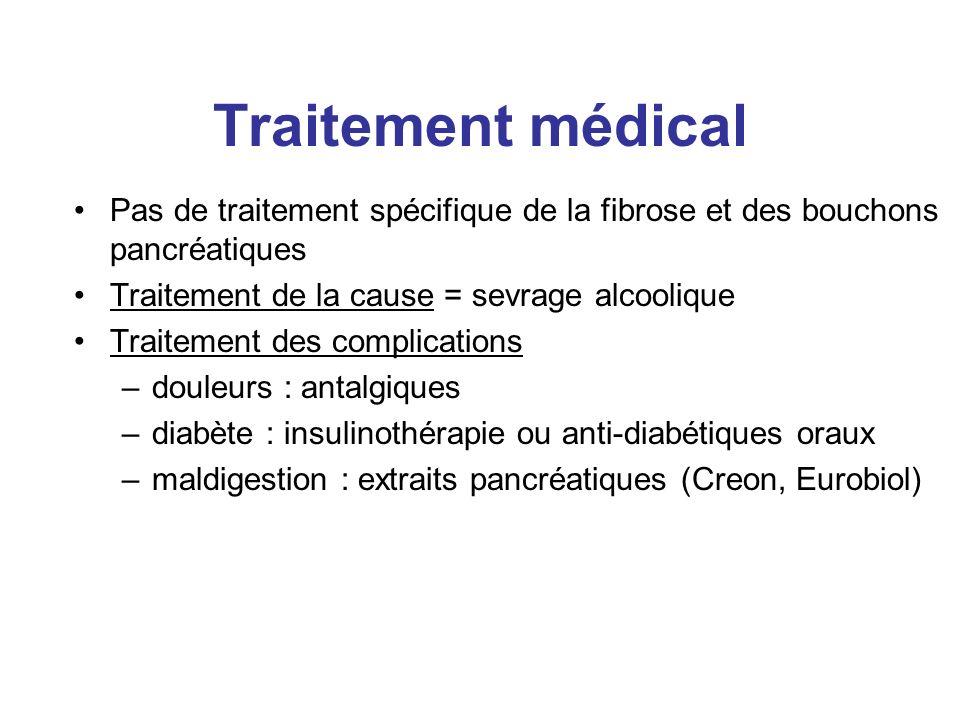 Traitement médical Pas de traitement spécifique de la fibrose et des bouchons pancréatiques Traitement de la cause = sevrage alcoolique Traitement des