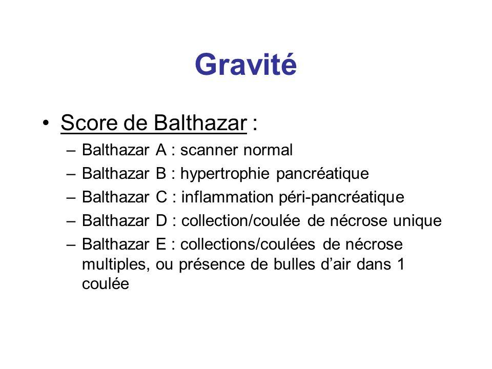 Gravité Score de Balthazar : –Balthazar A : scanner normal –Balthazar B : hypertrophie pancréatique –Balthazar C : inflammation péri-pancréatique –Bal