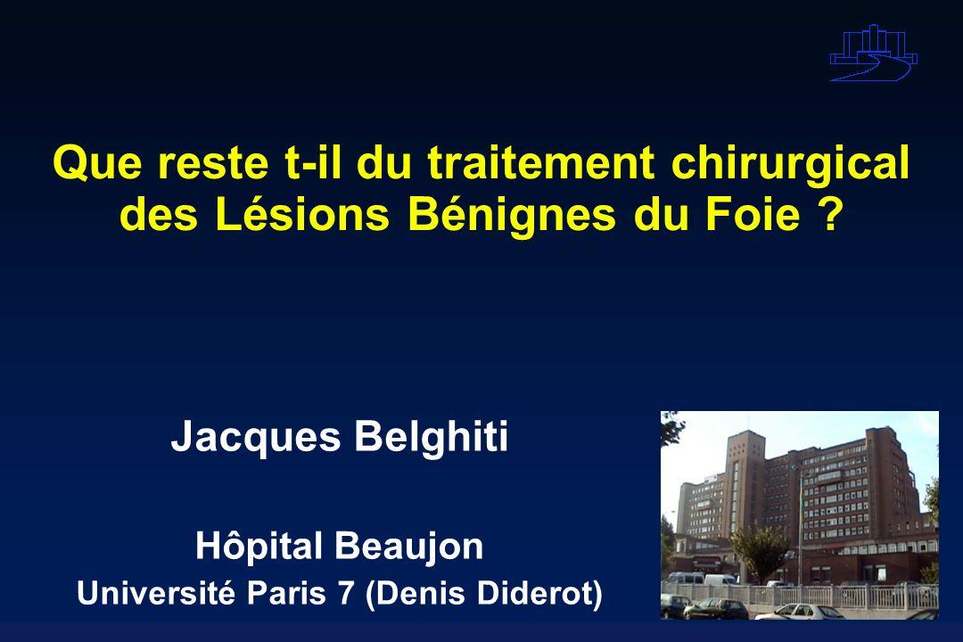 Que reste t-il du traitement chirurgical des Lésions Bénignes du Foie ? Jacques Belghiti Hôpital Beaujon Université Paris 7 (Denis Diderot)