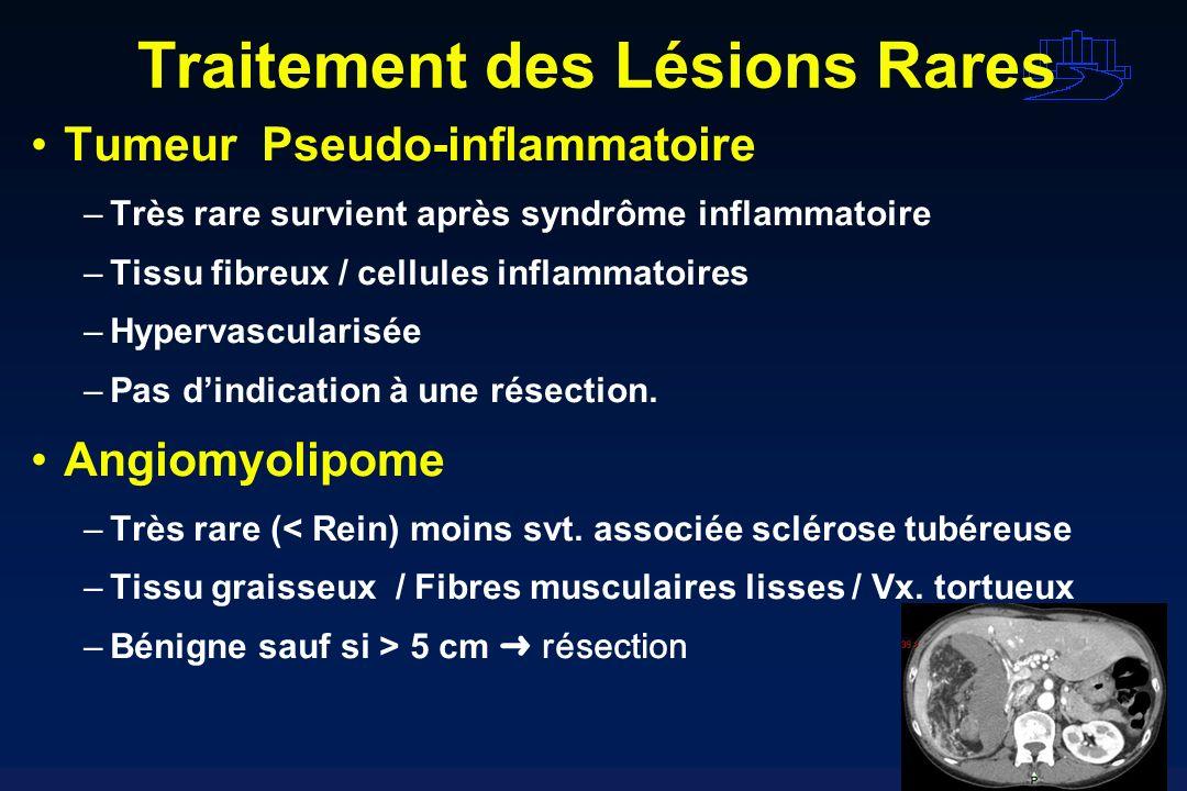 Traitement des Lésions Rares Tumeur Pseudo-inflammatoire –Très rare survient après syndrôme inflammatoire –Tissu fibreux / cellules inflammatoires –Hy