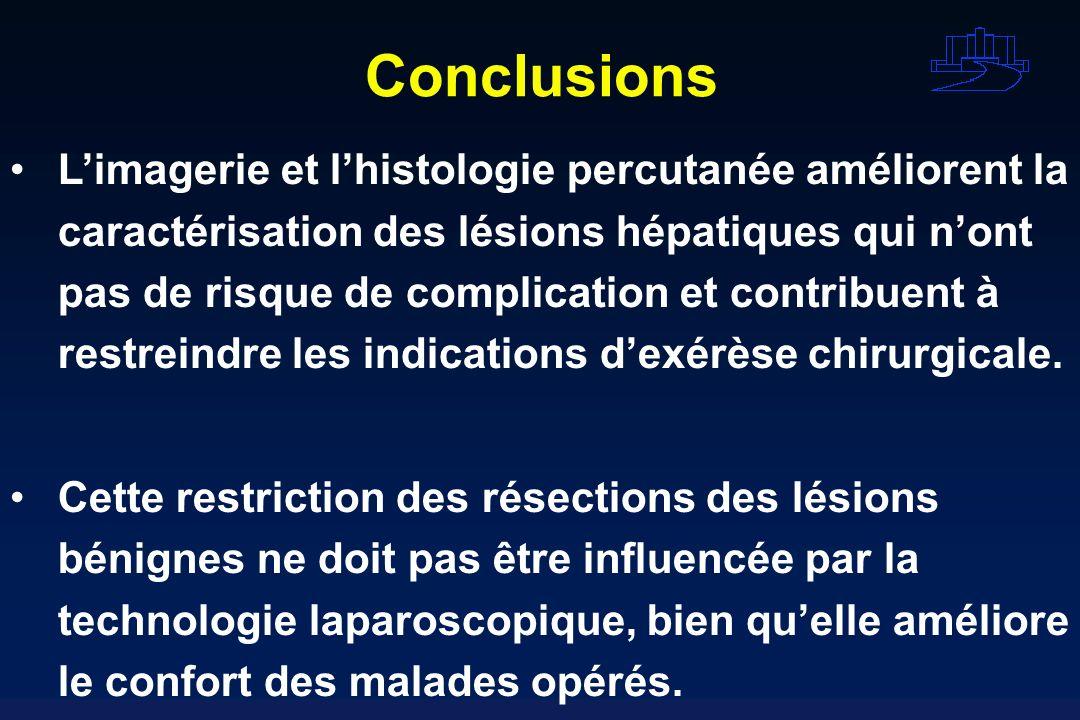 Conclusions Limagerie et lhistologie percutanée améliorent la caractérisation des lésions hépatiques qui nont pas de risque de complication et contrib