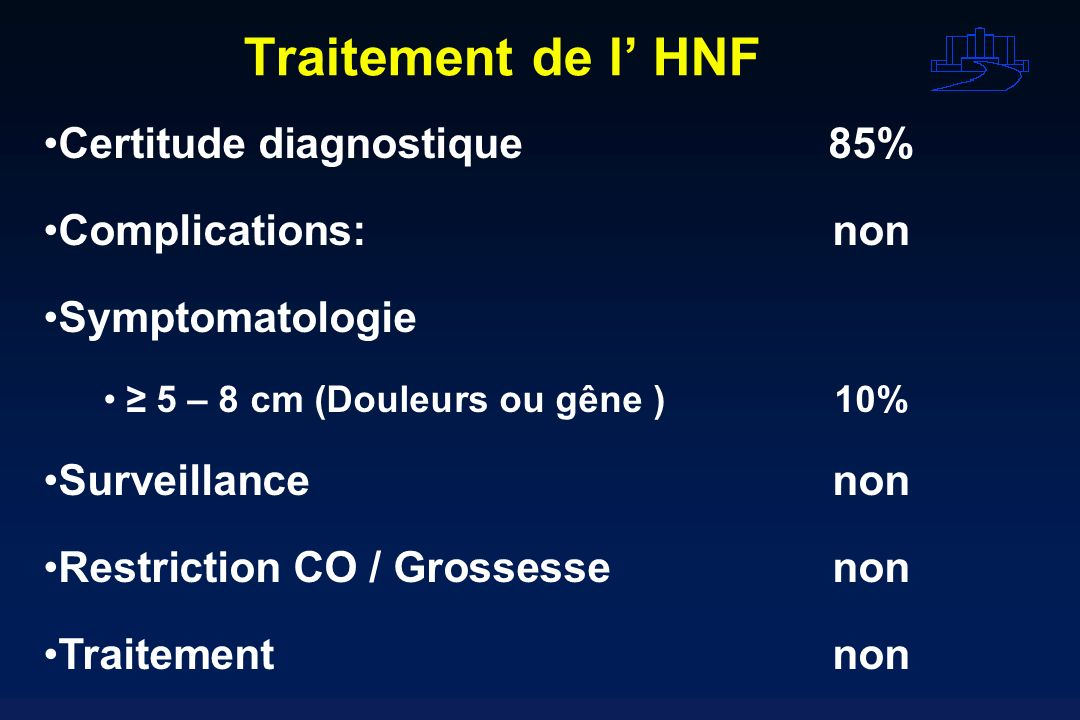 Traitement de l HNF Certitude diagnostique85% Complications:non Symptomatologie 5 – 8 cm (Douleurs ou gêne )10% Surveillancenon Restriction CO / Gross