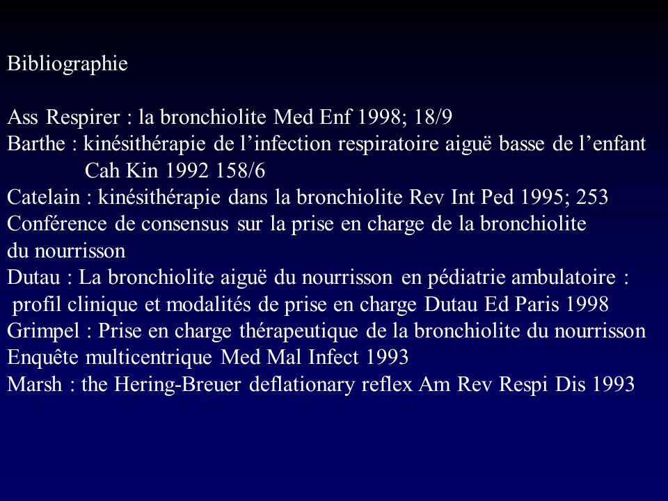 Bibliographie Ass Respirer : la bronchiolite Med Enf 1998; 18/9 Barthe : kinésithérapie de linfection respiratoire aiguë basse de lenfant Cah Kin 1992
