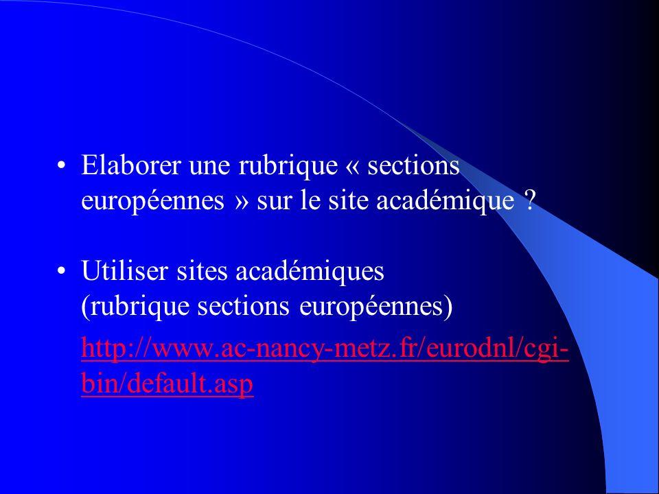 Elaborer une rubrique « sections européennes » sur le site académique ? Utiliser sites académiques (rubrique sections européennes) http://www.ac-nancy