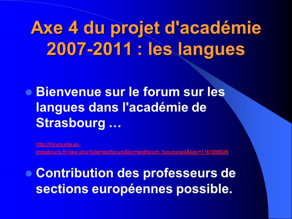 Axe 4 du projet d'académie 2007-2011 : les langues Bienvenue sur le forum sur les langues dans l'académie de Strasbourg … http://forum.site.ac- strasb