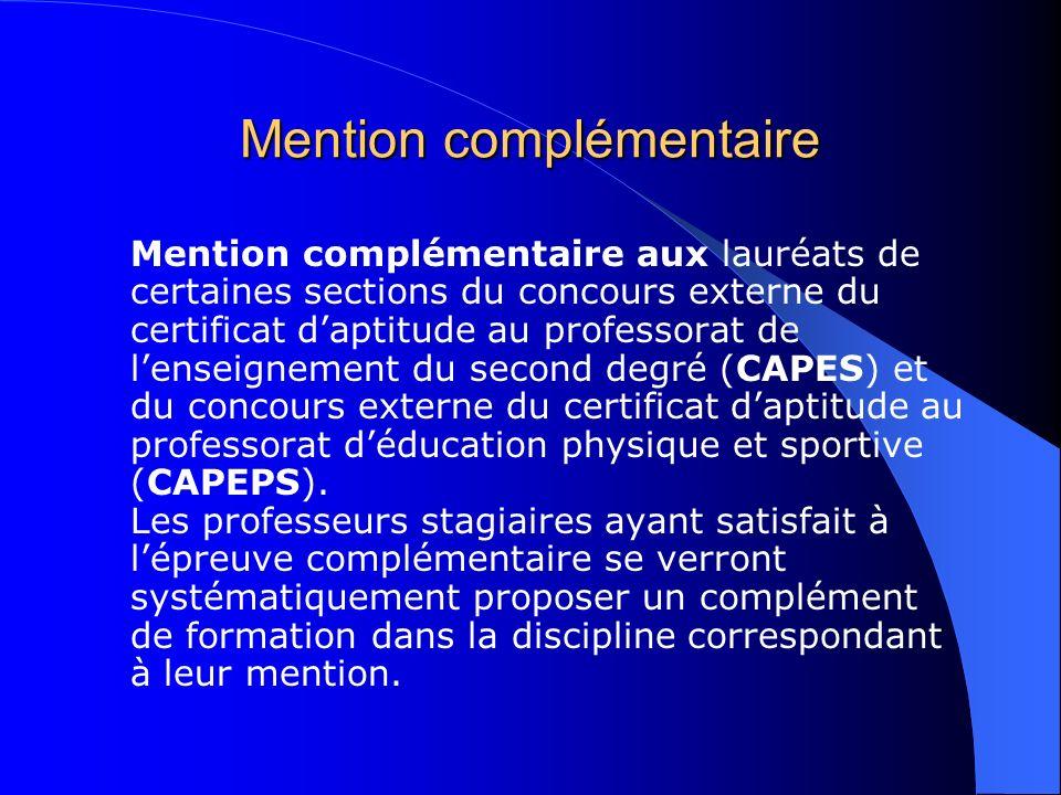 Mention complémentaire Mention complémentaire aux lauréats de certaines sections du concours externe du certificat daptitude au professorat de lenseig