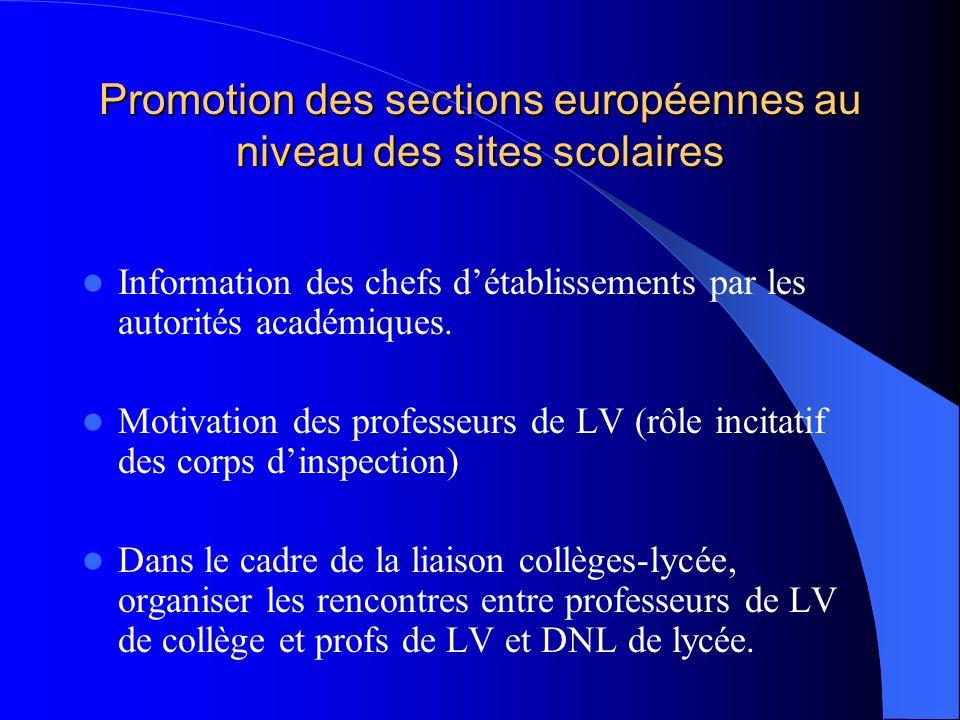 Promotion des sections européennes au niveau de létablissement Pédagogie de projet favorise interdisciplinarité LV/DNL (travail sur un thème commun, travail en binôme pour la réalisation dun partenariat…) Assistants de langue et « section européenne », circulaire du 3 juin 2006 Assistants de langue et « section européenne », circulaire du 3 juin 2006 Cahier des charges à remplir pour laffectation de lassistant : projet pédagogique défini par les enseignants de LV et de DNL, sintégrant dans le projet détablissement (section européenne)