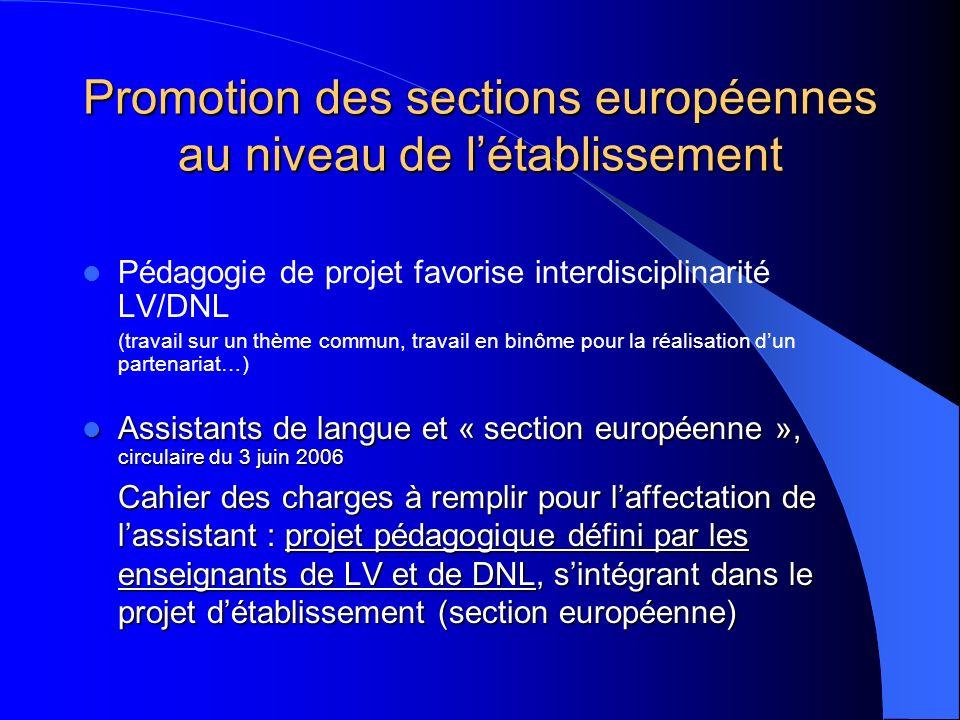 Promotion des sections européennes au niveau de létablissement Pédagogie de projet favorise interdisciplinarité LV/DNL (travail sur un thème commun, t