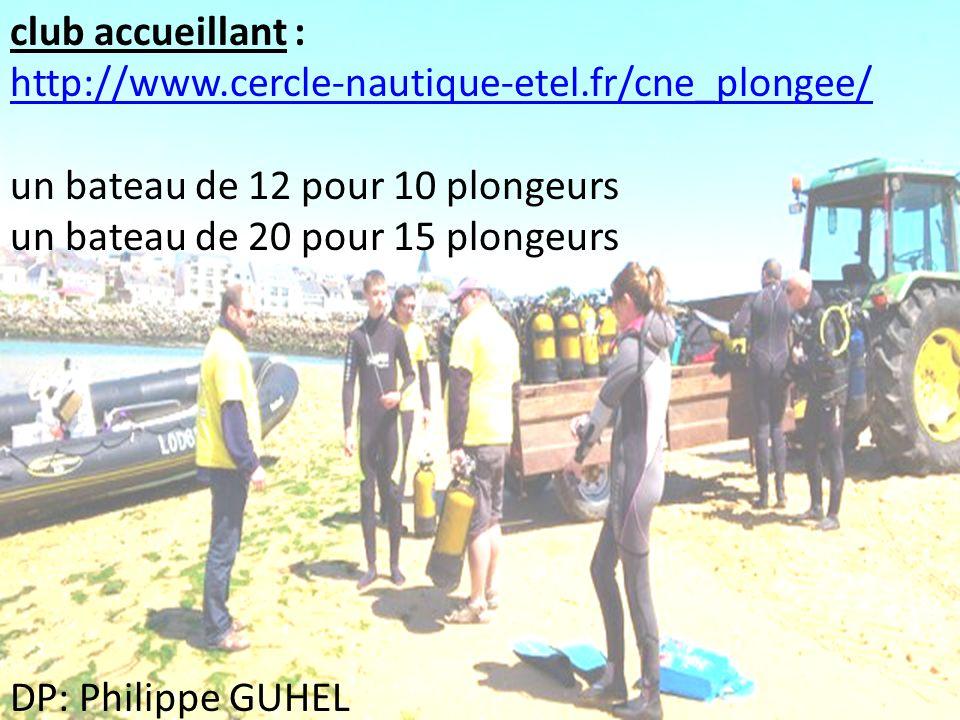 club accueillant : http://www.cercle-nautique-etel.fr/cne_plongee/ un bateau de 12 pour 10 plongeurs un bateau de 20 pour 15 plongeurs DP: Philippe GU