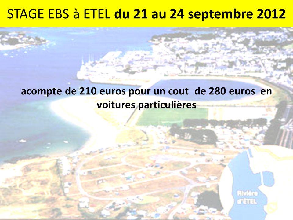STAGE EBS à ETEL du 21 au 24 septembre 2012 acompte de 210 euros pour un cout de 280 euros en voitures particulières