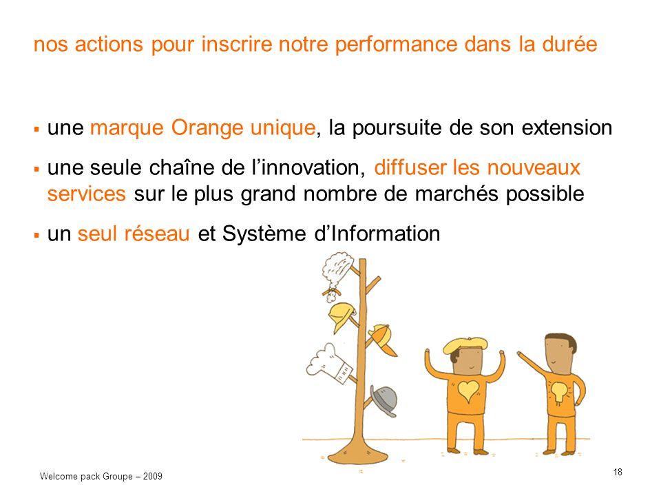 18 Welcome pack Groupe – 2009 nos actions pour inscrire notre performance dans la durée une marque Orange unique, la poursuite de son extension une se