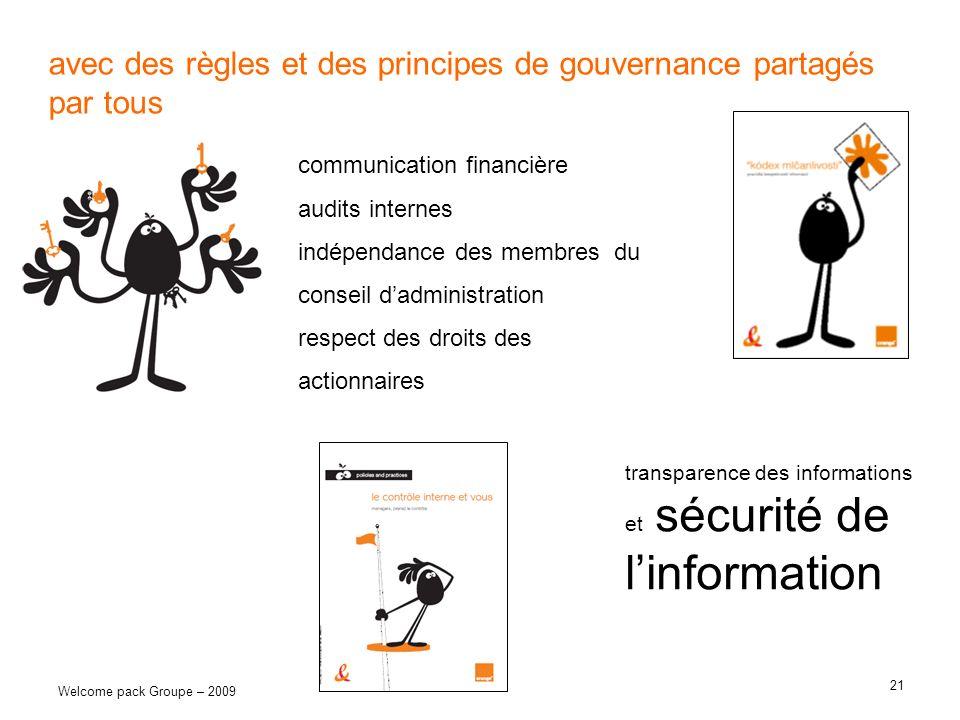 21 Welcome pack Groupe – 2009 avec des règles et des principes de gouvernance partagés par tous communication financière audits internes indépendance