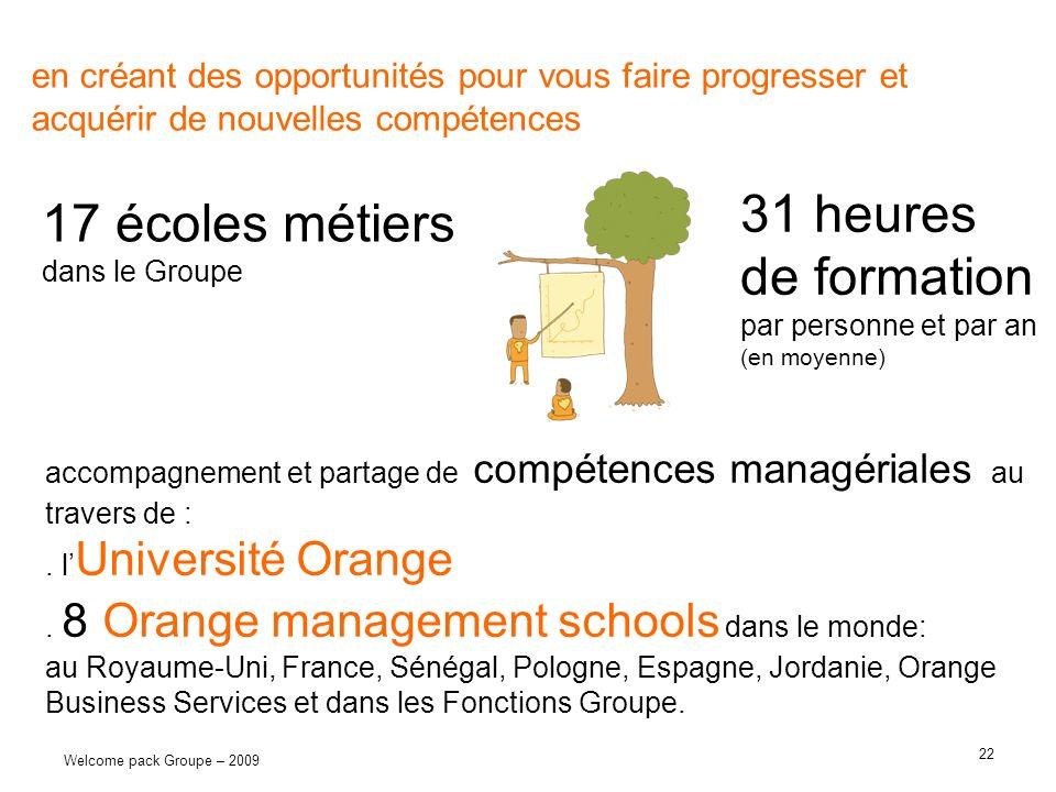 22 Welcome pack Groupe – 2009 en créant des opportunités pour vous faire progresser et acquérir de nouvelles compétences 17 écoles métiers dans le Gro