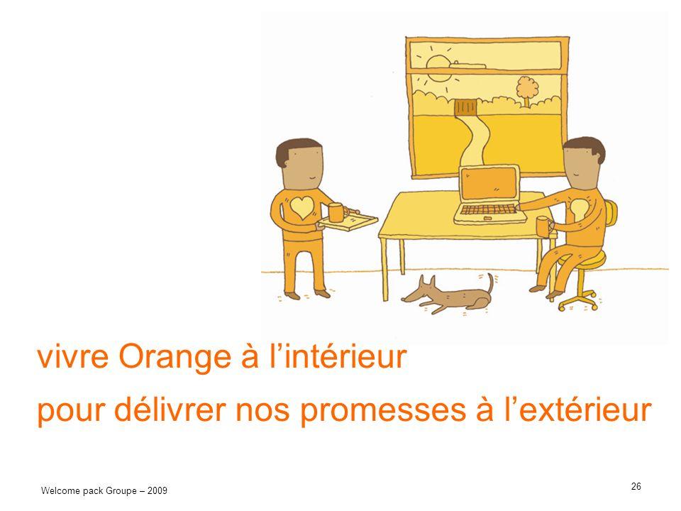 26 Welcome pack Groupe – 2009 vivre Orange à lintérieur pour délivrer nos promesses à lextérieur