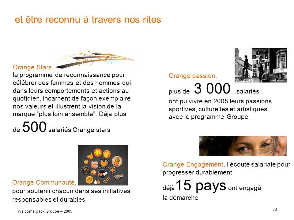 28 Welcome pack Groupe – 2009 et être reconnu à travers nos rites Orange Communauté, pour soutenir chacun dans ses initiatives responsables et durable