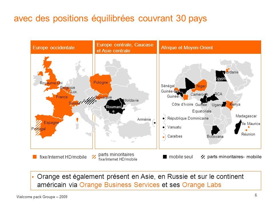 6 Welcome pack Groupe – 2009 avec des positions équilibrées couvrant 30 pays Europe occidentale Egypte Jordanie Madagascar République Dominicaine RCA