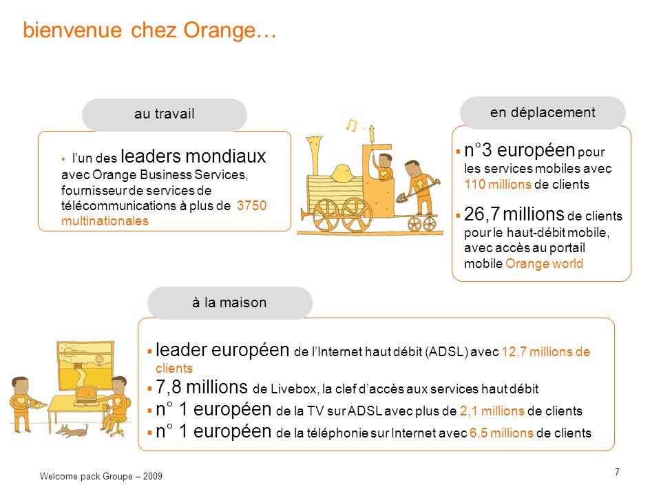 7 Welcome pack Groupe – 2009 bienvenue chez Orange… n°3 européen pour les services mobiles avec 110 millions de clients 26,7 millions de clients pour