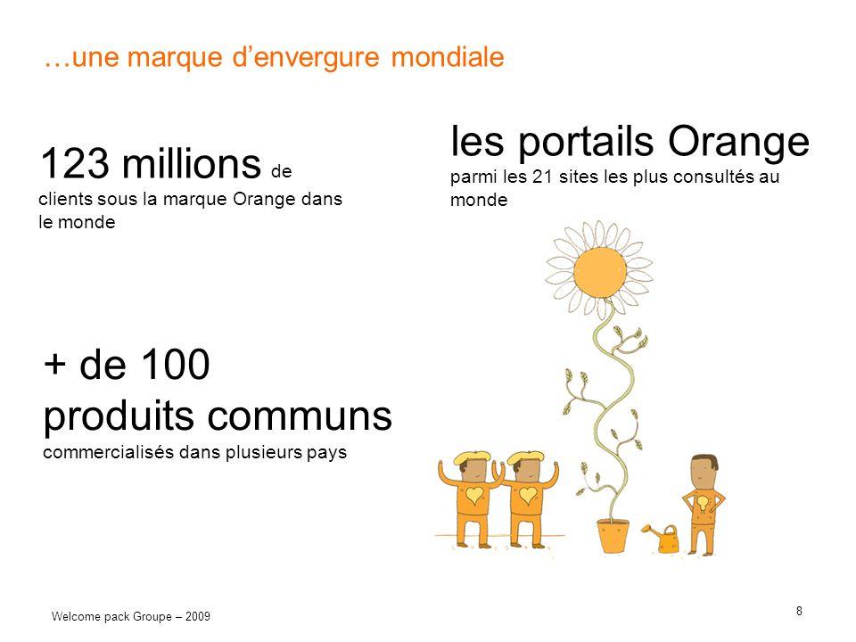 8 Welcome pack Groupe – 2009 …une marque denvergure mondiale 123 millions de clients sous la marque Orange dans le monde + de 100 produits communs com