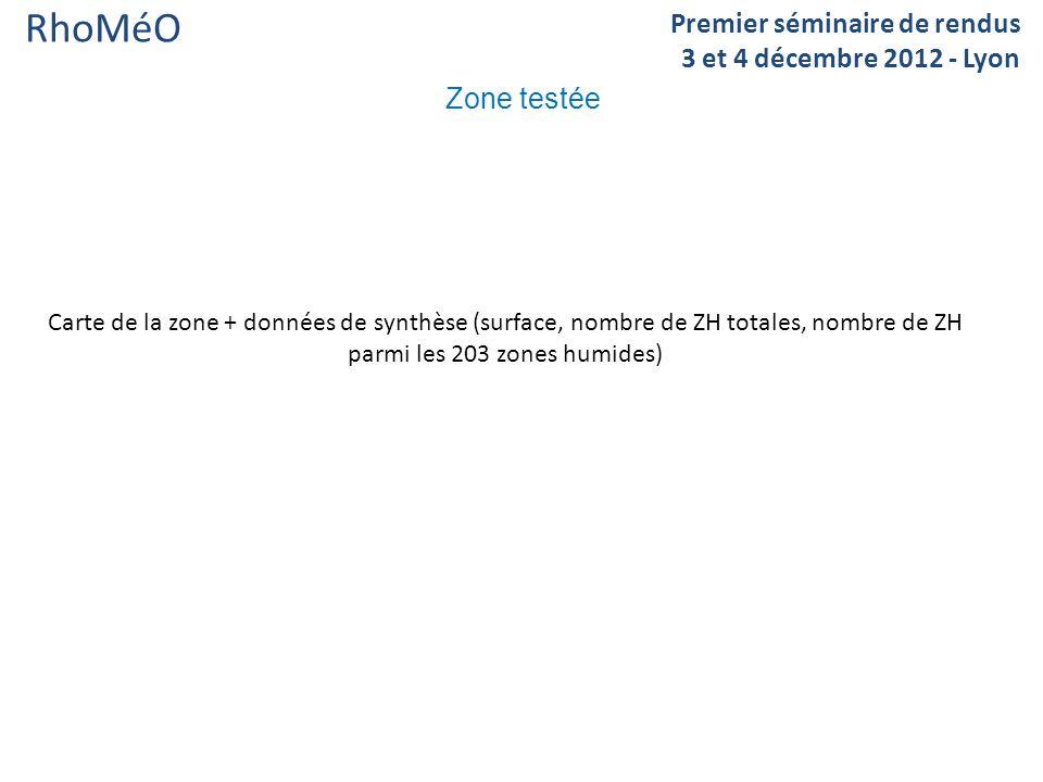 RhoMéO Zone testée Premier séminaire de rendus 3 et 4 décembre 2012 - Lyon Carte de la zone + données de synthèse (surface, nombre de ZH totales, nombre de ZH parmi les 203 zones humides)