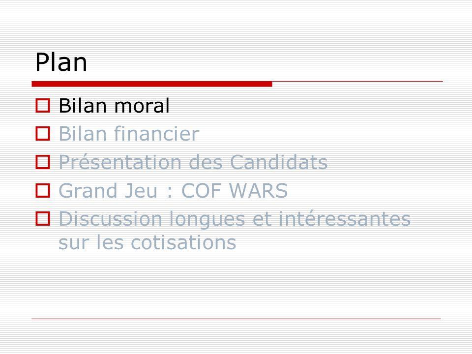 Plan Bilan moral Bilan financier Présentation des Candidats Grand Jeu : COF WARS Discussion longues et intéressantes sur les cotisations