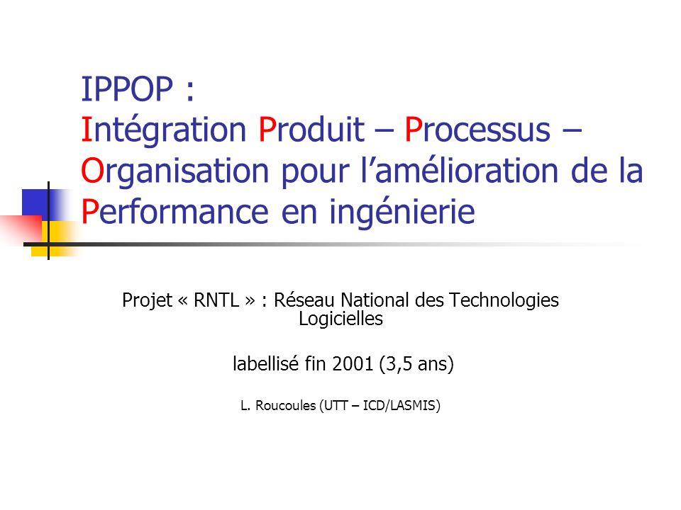 IPPOP : Intégration Produit – Processus – Organisation pour lamélioration de la Performance en ingénierie Projet « RNTL » : Réseau National des Techno