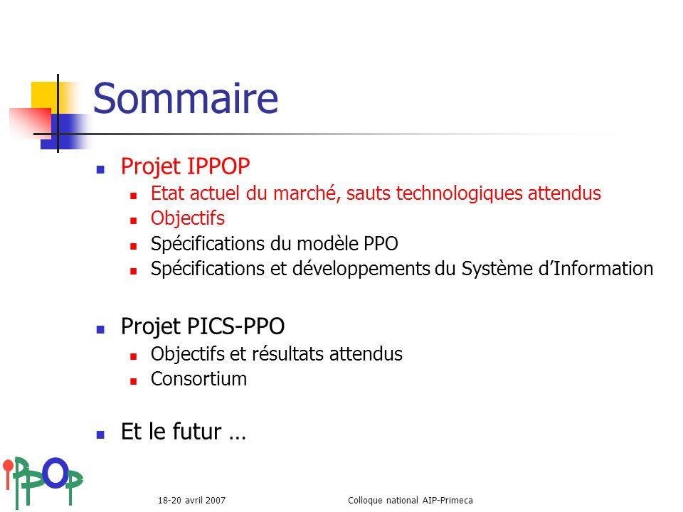 18-20 avril 2007Colloque national AIP-Primeca Sommaire Projet IPPOP Etat actuel du marché, sauts technologiques attendus Objectifs Spécifications du m
