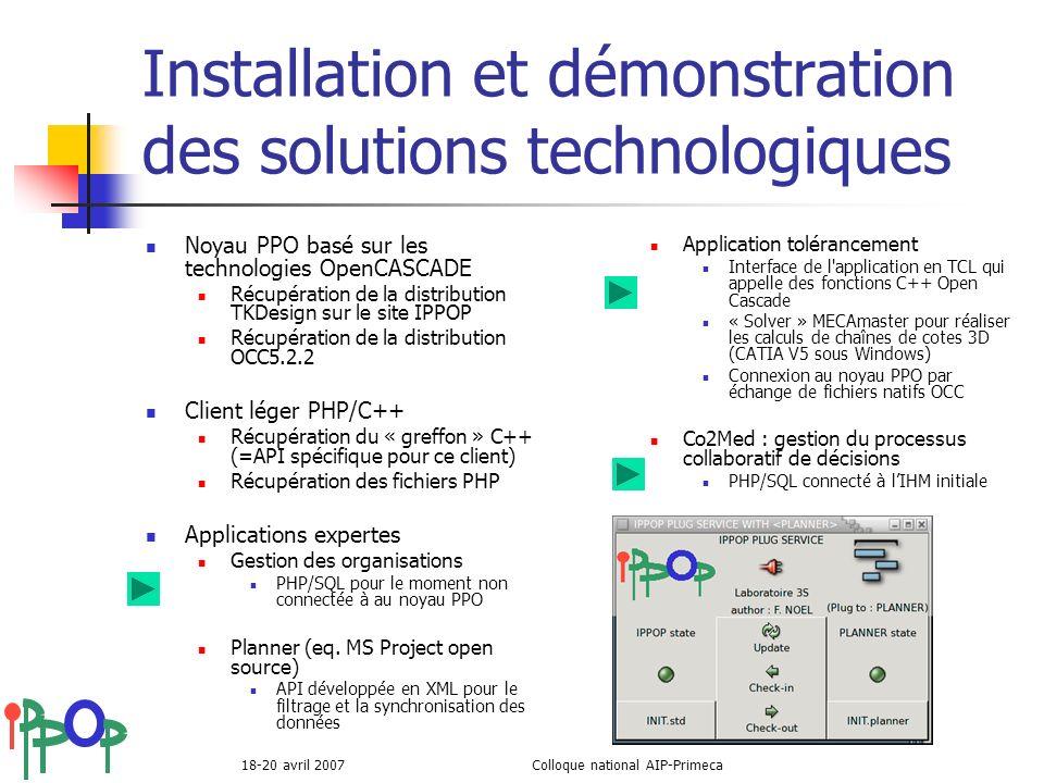18-20 avril 2007Colloque national AIP-Primeca Installation et démonstration des solutions technologiques Noyau PPO basé sur les technologies OpenCASCA