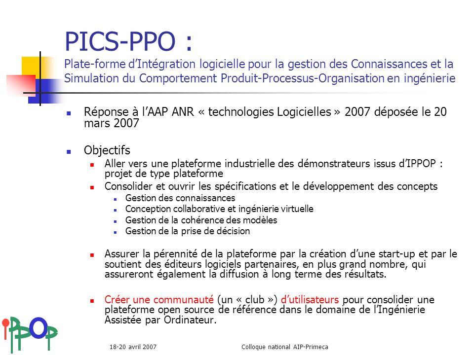 18-20 avril 2007Colloque national AIP-Primeca PICS-PPO : Plate-forme dIntégration logicielle pour la gestion des Connaissances et la Simulation du Com