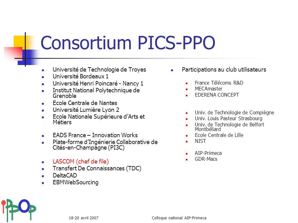 18-20 avril 2007Colloque national AIP-Primeca Consortium PICS-PPO Université de Technologie de Troyes Université Bordeaux 1 Université Henri Poincaré