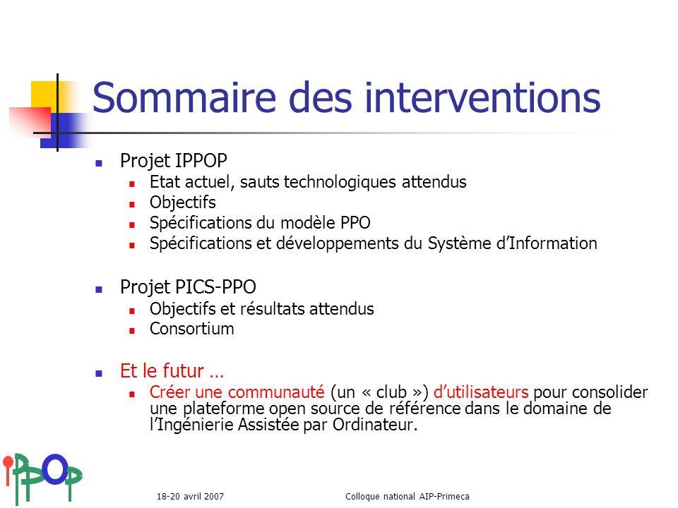 18-20 avril 2007Colloque national AIP-Primeca Sommaire des interventions Projet IPPOP Etat actuel, sauts technologiques attendus Objectifs Spécificati