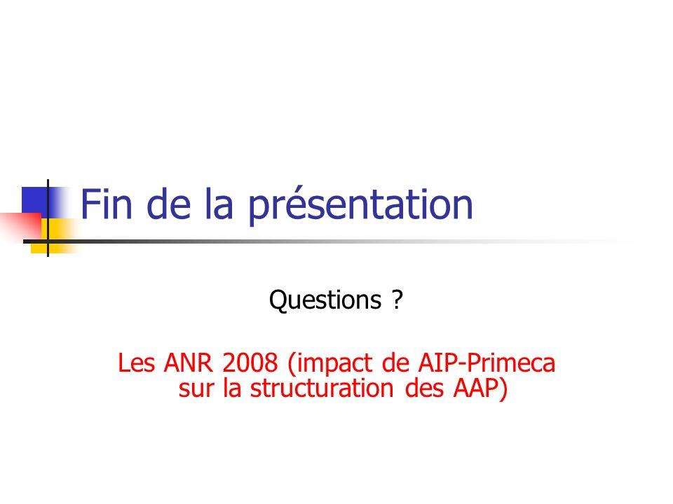 Fin de la présentation Questions ? Les ANR 2008 (impact de AIP-Primeca sur la structuration des AAP)