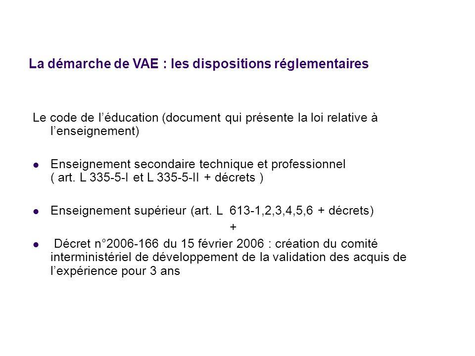 La démarche de VAE : les dispositions réglementaires Le code de léducation (document qui présente la loi relative à lenseignement) Enseignement second