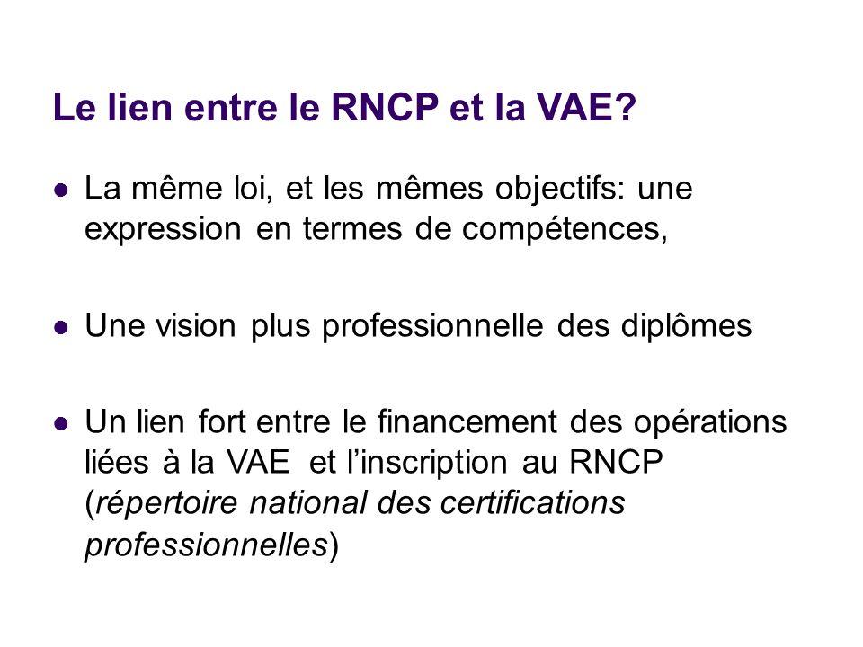 Le lien entre le RNCP et la VAE? La même loi, et les mêmes objectifs: une expression en termes de compétences, Une vision plus professionnelle des dip