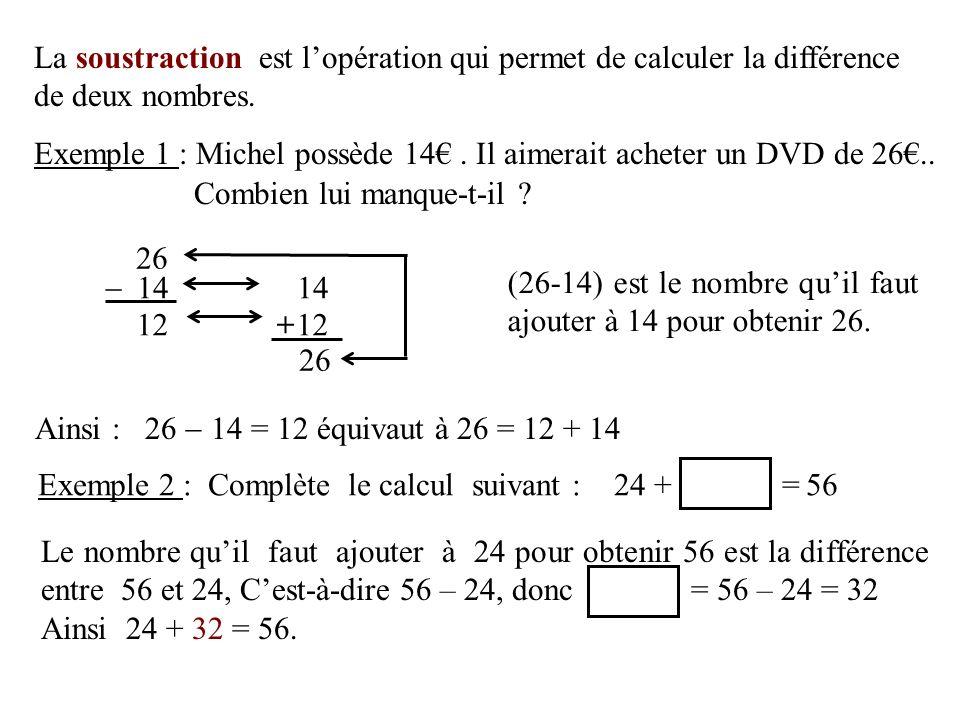 La soustraction est lopération qui permet de calculer la différence de deux nombres. Combien lui manque-t-il ? Exemple 1 : Michel possède 14. Il aimer