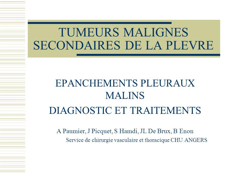 TUMEURS MALIGNES SECONDAIRES DE LA PLEVRE EPANCHEMENTS PLEURAUX MALINS DIAGNOSTIC ET TRAITEMENTS A Paumier, J Picquet, S Hamdi, JL De Brux, B Enon Ser